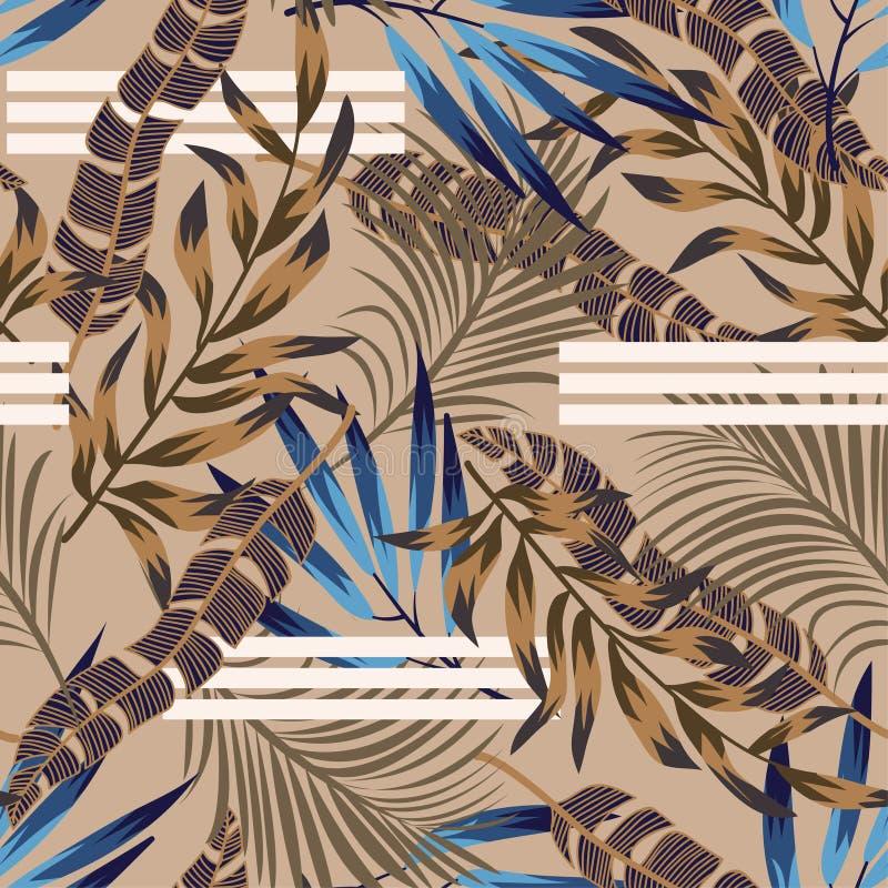 Ursprüngliches helles nahtloses Muster mit bunten tropischen Blättern und Anlagen auf braunem Hintergrund ENV 10 Dschungeldruck f lizenzfreie abbildung