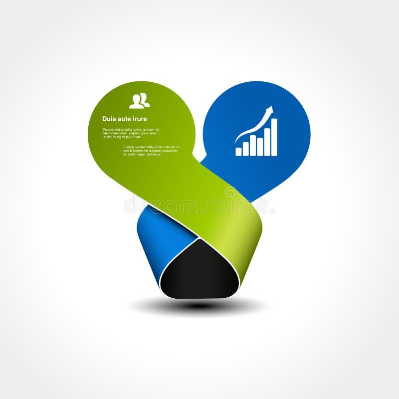 Ursprüngliches infographic Element Kreise mit verbogenem Band Platz für Ihren Text Grüne und blaue Farbe lizenzfreie abbildung