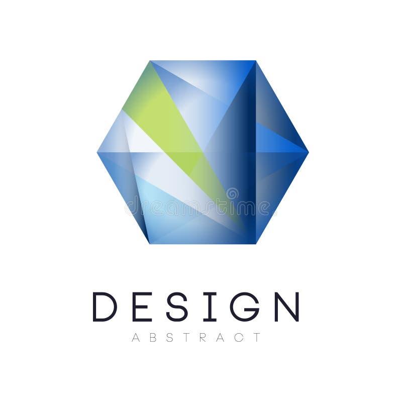 Ursprüngliches Logo in der Form des sechseckigen Kristalles Geometrische Ikone in den blauen und grünen Farben der Steigung Vekto lizenzfreie abbildung