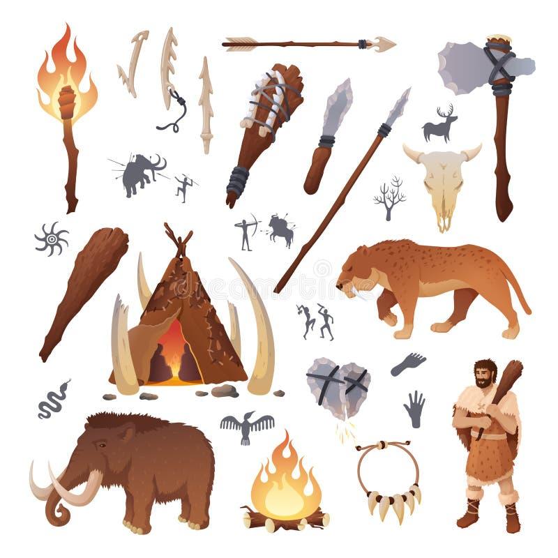 Ursprüngliches prähistorisches Leben und Leute des Steinzeitalters stock abbildung