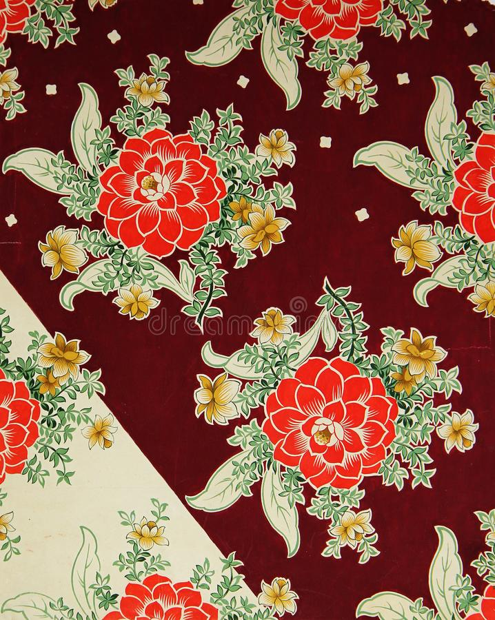 Ursprüngliches Textilmuster von Dahlien in einer modernen Art Handgemalte Gouache der Skizzenweinlese stock abbildung