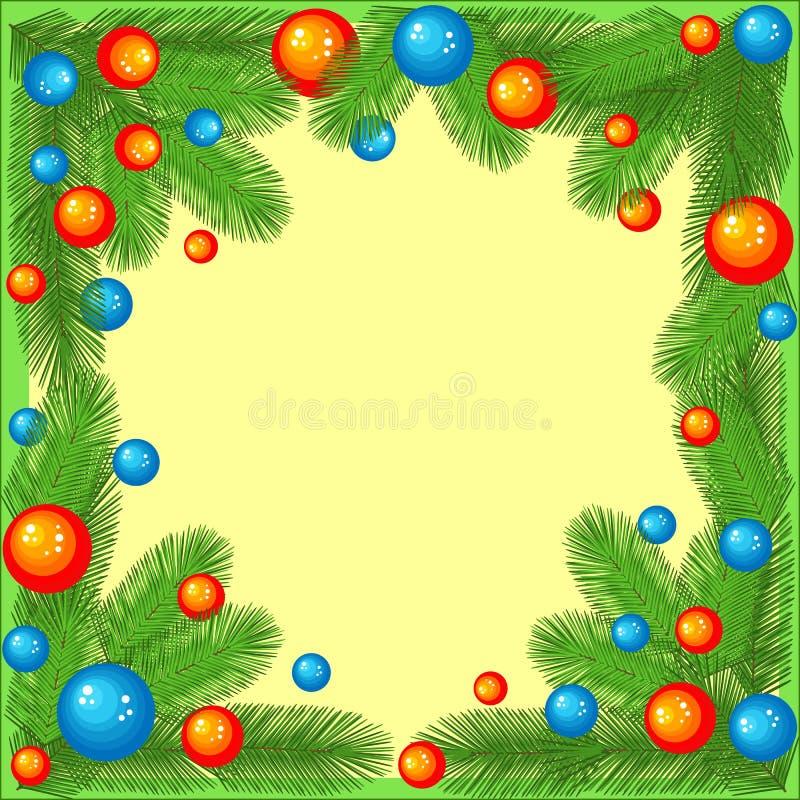 Urspr?nglicher Rahmen f?r Fotos und Text Niederlassungen eines Weihnachtsbaums, der mit hellen Bällen verziert wird, schaffen ein lizenzfreie abbildung