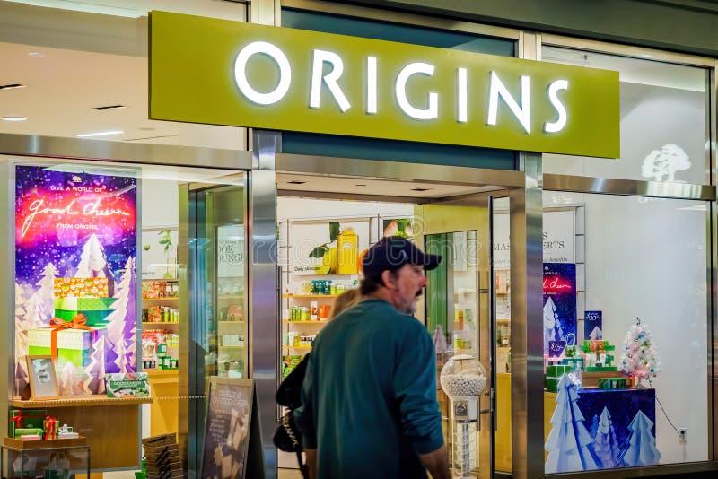 Ursprung kaufen in Ala Moana-Mitte - Nachtansicht lizenzfreies stockbild