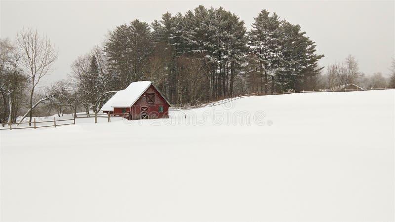 Ursprungligt snöig fält och röd ladugård royaltyfria bilder