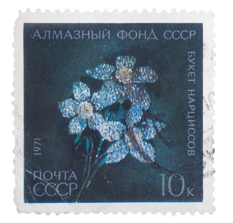 URSS - CERCA DE 1971: Um selo imprimiu no broche das mostras - bouque imagens de stock royalty free