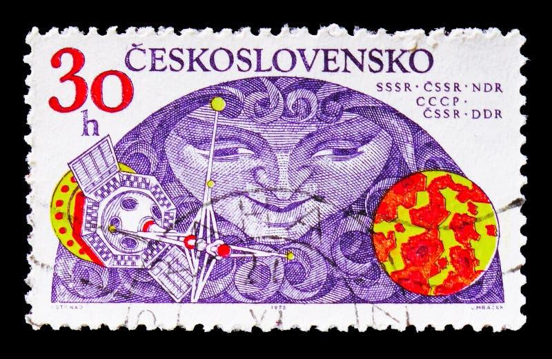 URSS-Checoslováquia-GDR, pesquisa do serie do espaço, cerca de 1975 imagem de stock
