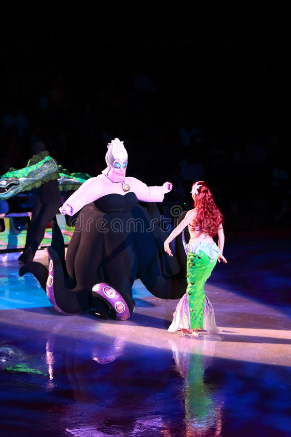 Ursula and Ariel. Philippines - December 26, 2012. Ursula and Ariel in Disney On Ice: Princesses & Heroes at Smart Araneta, Cubao Quezon City stock photography