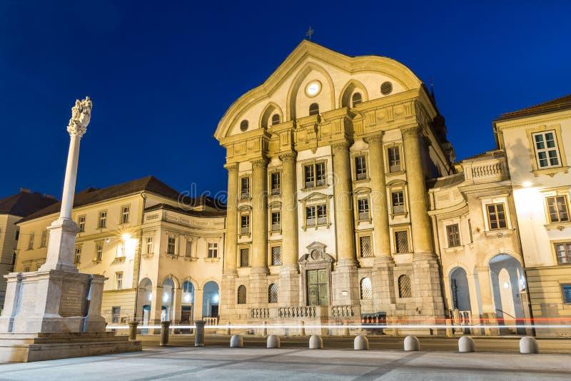 Ursuline Church, Congress Square, Ljubljana, Slovenia. Stock Photo