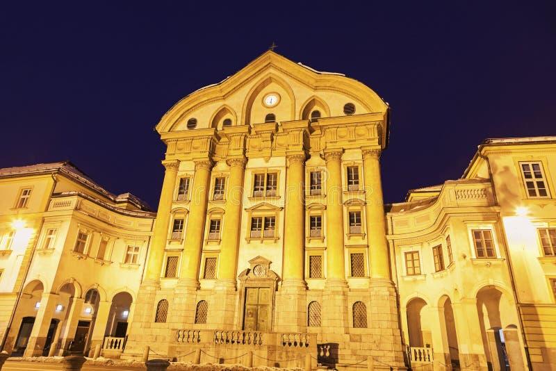 Ursuline Church da trindade santamente em Ljubljana imagem de stock royalty free