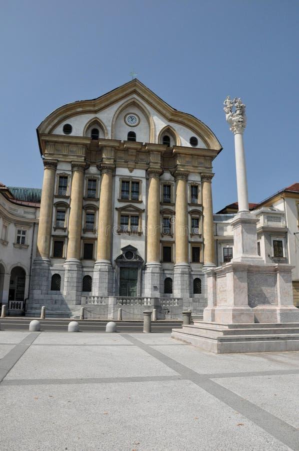 Ursuline Church in Ljubljana, Slovenië stock fotografie