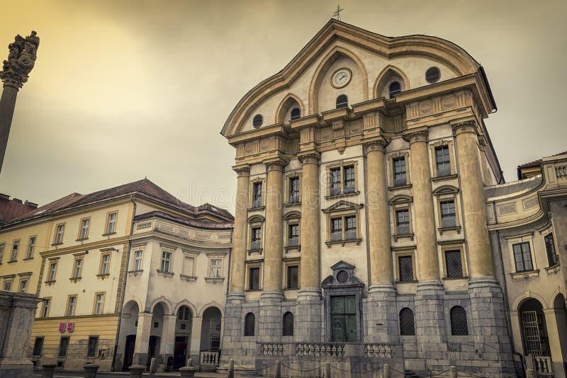 Ursuline Church in Ljubljana, Slovenië stock foto