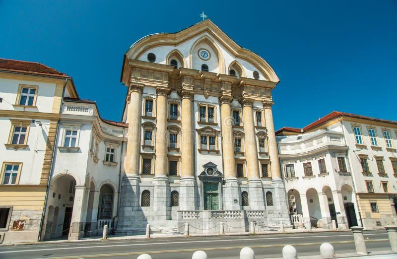 Ursulinskakerk, Ljubljana, Slovenië stock fotografie