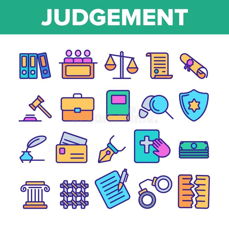 Urteil, Gerichts-Prozess-Vektor-Farblinie-Ikonen-Satz lizenzfreie abbildung