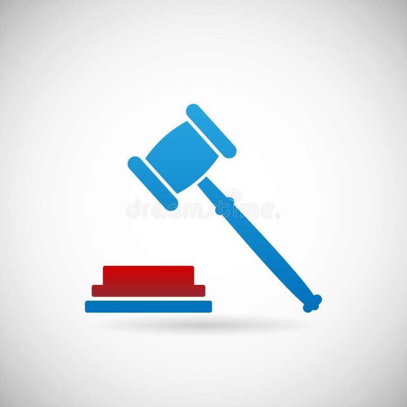Urteil-Urteilsspruch-Symbol-Richter Gavel Icon Template auf Gray Background Vector Illustration lizenzfreie abbildung