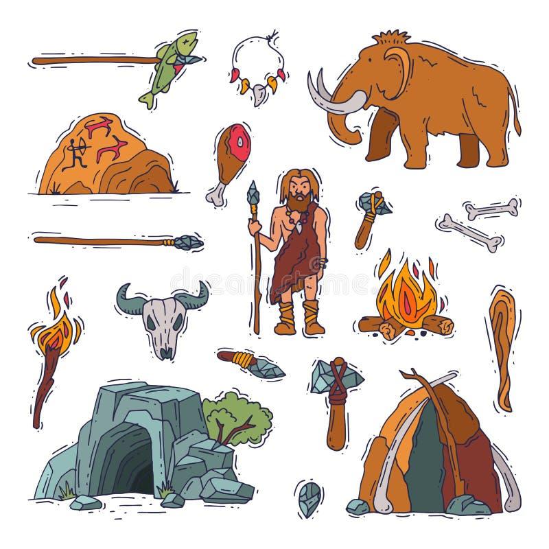 Urtids- neanderthal tecken för primitivt folk och forntida grottmänniskabrand i man för illustration för grotta för stenålder för stock illustrationer