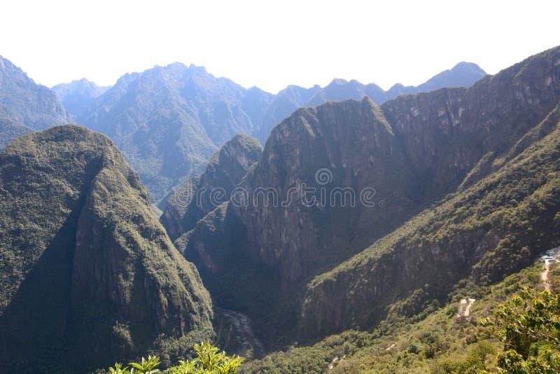 Urubamba从马丘比丘的谷视图 秘鲁 库存图片