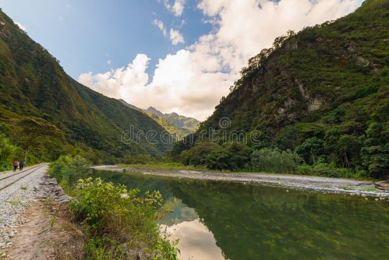 Urubamba river and railway to Machu Picchu. Peru travel destination, South America adventures. stock photo