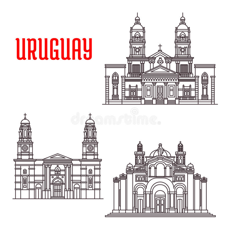Uruguay architecture landmarks icons. Famous buildings of Uruguay. National Shrine of the Sacred Heart of Jesus, Church of Our Lady of the Mount Carmel stock illustration