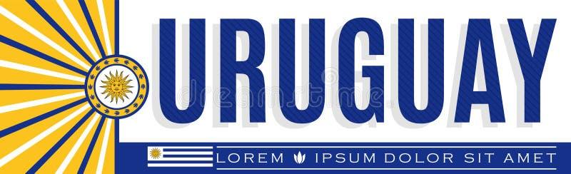 Uruguay banerdesign, typografisk vektorillustration, uruguayanska flaggafärger vektor illustrationer