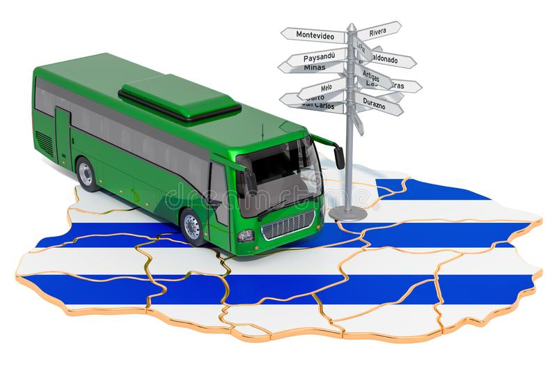 Uruguay Bus Tours concept. 3D rendering. Isolated on white background royalty free illustration