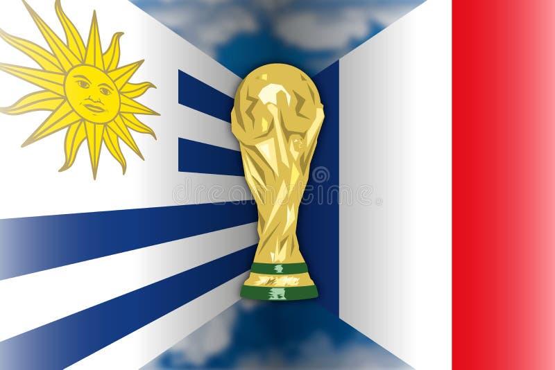 Uruguay CONTRA Francia, Rusia 2018, finales cuartos stock de ilustración