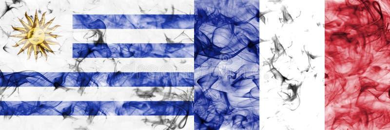 Uruguay contra la bandera del humo de Francia, finales cuartos, mundial 2018, Moscú, Rusia del fútbol stock de ilustración