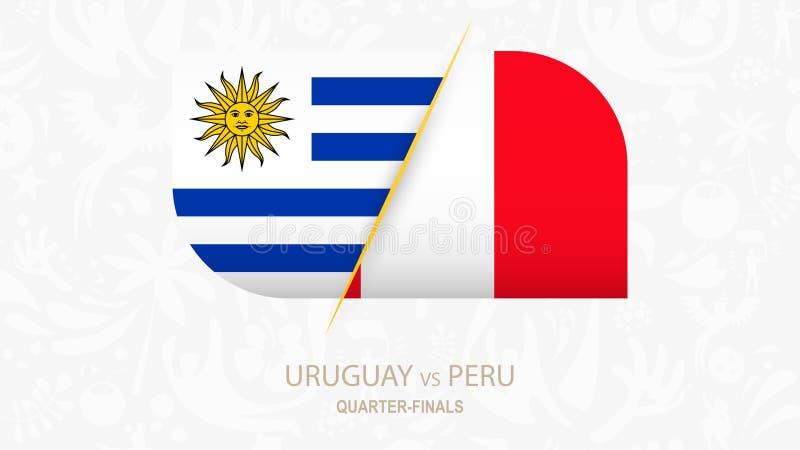 Uruguay contra Perú, Cuarto-finales de la competencia del fútbol stock de ilustración