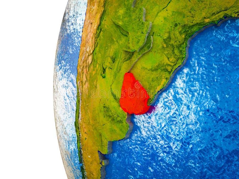 Uruguay en la tierra 3D stock de ilustración