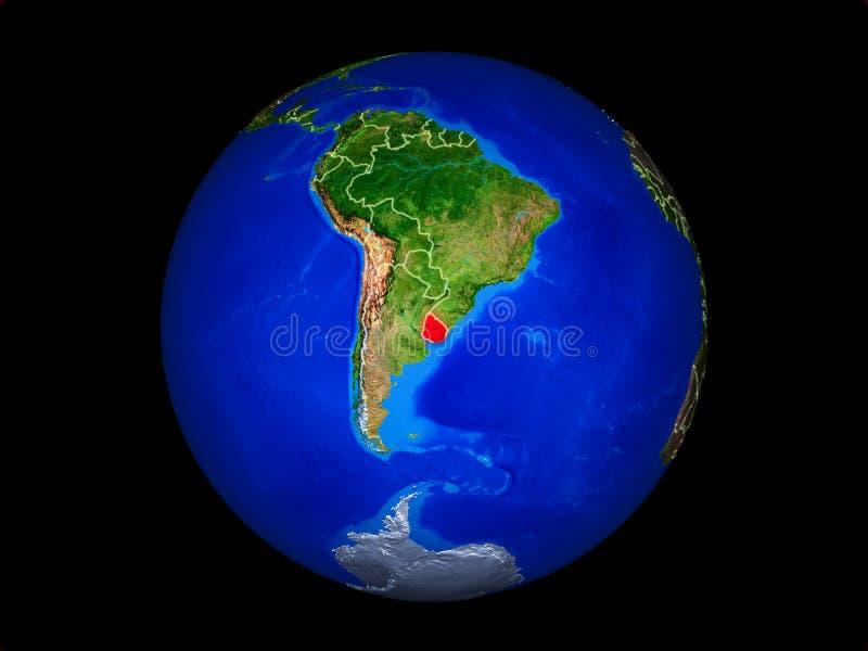 Uruguay en la tierra del espacio stock de ilustración