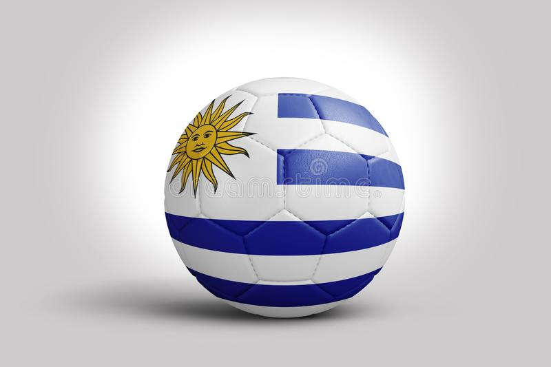 Uruguay flag on ball, 3d rendering. Soccer ball in 3d illustration. vector illustration