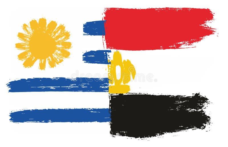 Uruguay flagga & hand för Egypten flaggavektor som målas med den rundade borsten vektor illustrationer