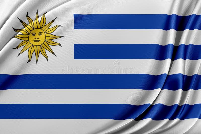 Uruguay flagga med en glansig siden- textur royaltyfri illustrationer