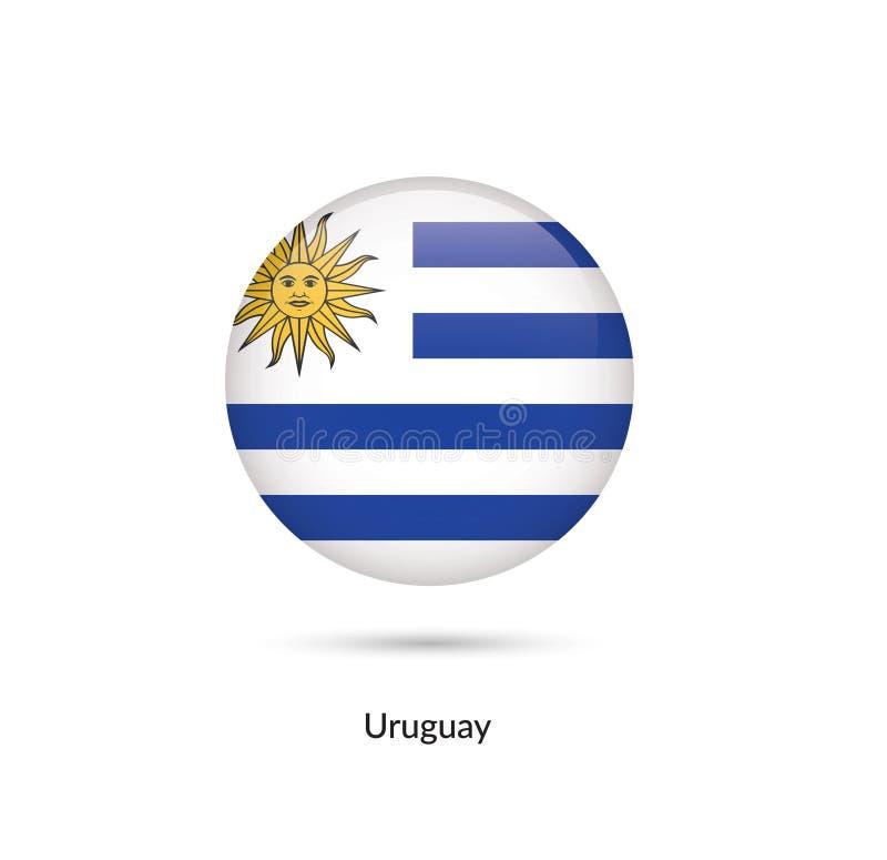 Uruguay flagga - rund glansig knapp vektor illustrationer