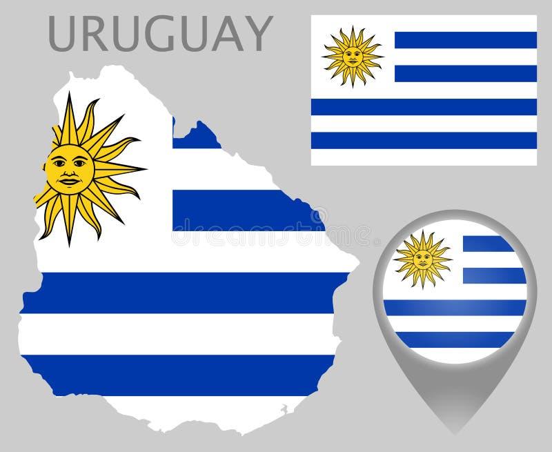 Uruguay-Flagge, Karte und Kartenzeiger lizenzfreie abbildung