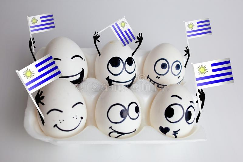 Uruguay football championship. Concept of funny fans - eggs. emotions on the faces of the fans stock image