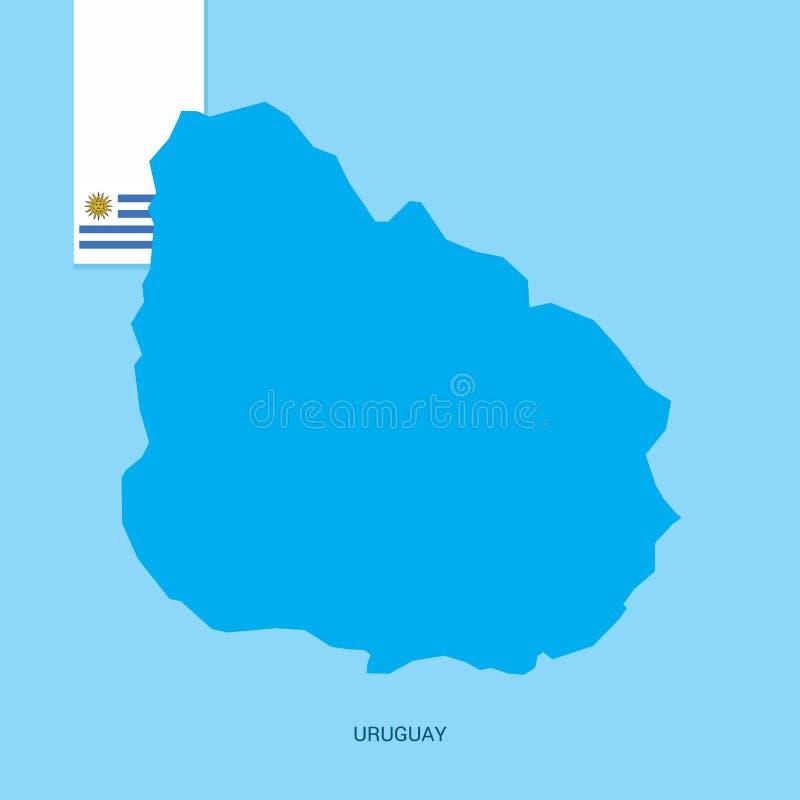 Uruguay-Land-Karte mit Flagge über blauem Hintergrund stock abbildung