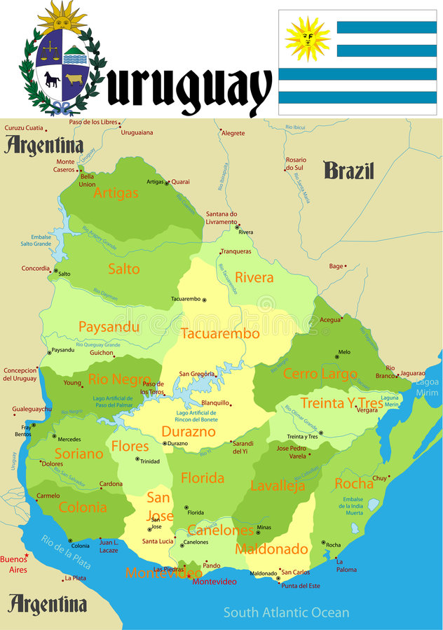 Uruguay Map stock vector Illustration of brazil country 5423502