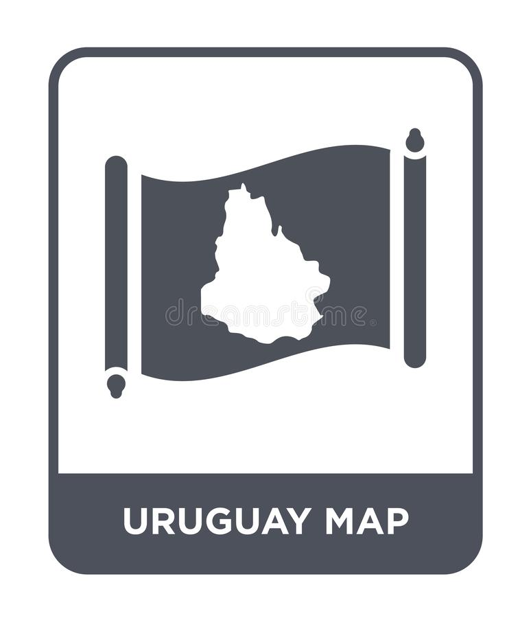 Uruguay map icon in trendy design style. uruguay map icon isolated on white background. uruguay map vector icon simple and modern. Flat symbol for web site vector illustration