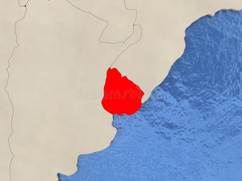Uruguay on map stock illustration Illustration of render 86701350