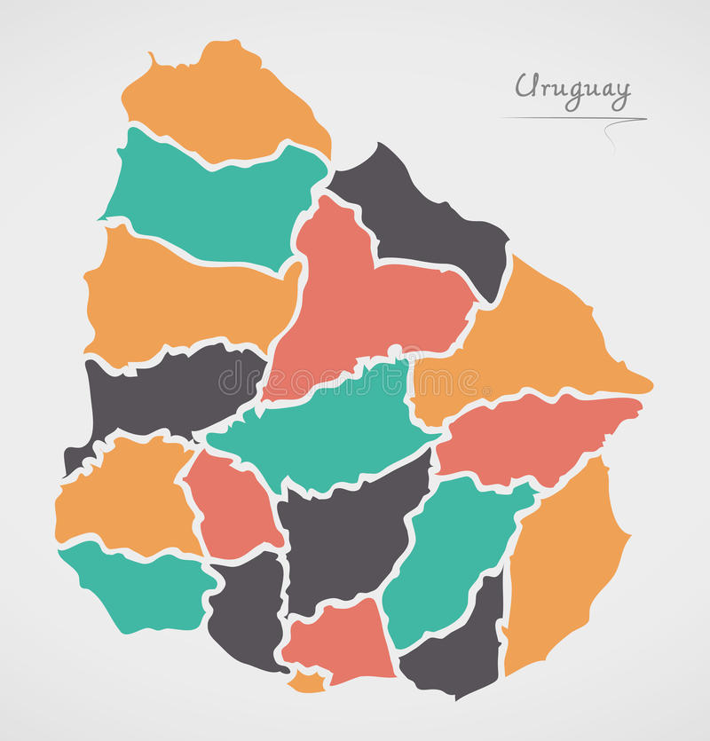 Uruguay Map with states and modern round shapes. Illustration vector illustration