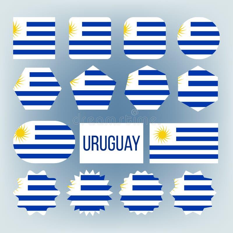 Uruguay nationella färger, uppsättning för gradbeteckningvektorsymboler vektor illustrationer
