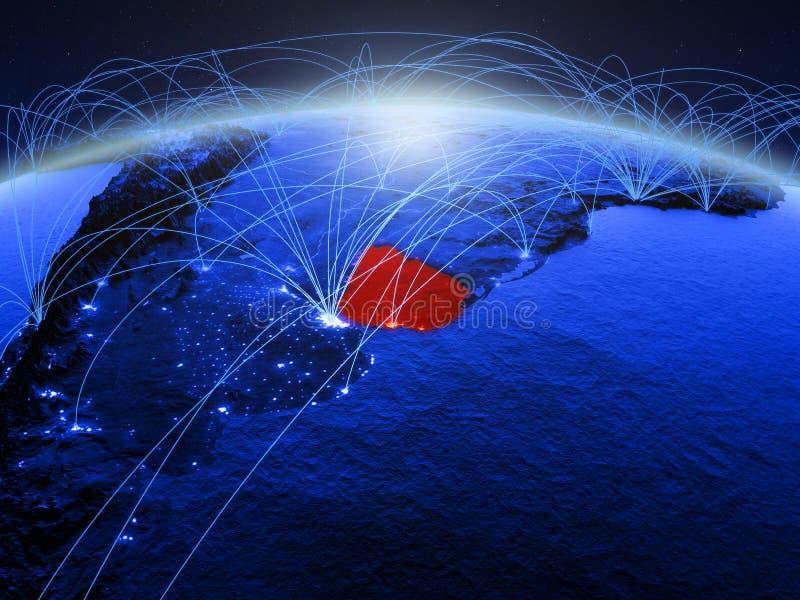 Uruguay op blauwe digitale aarde met internationaal netwerk die mededeling, reis en verbindingen vertegenwoordigen 3d royalty-vrije stock foto