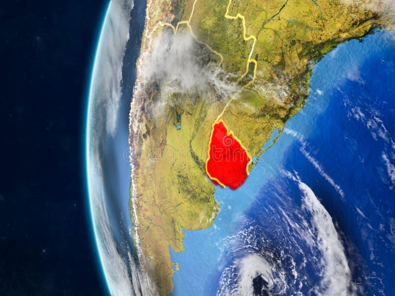 Uruguay op bol van ruimte stock illustratie