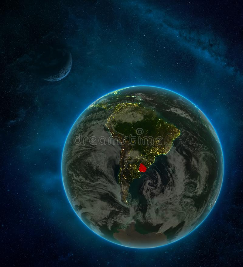 Uruguay from space on Earth at night surrounded by space with Moon and Milky Way. Detailed planet with city lights and clouds. 3D. Illustration. Elements of stock illustration
