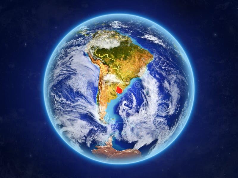 Uruguay ter wereld van ruimte stock illustratie