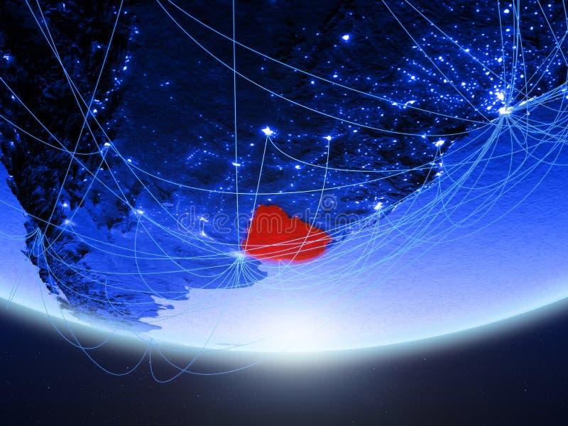 Uruguay van ruimte met netwerk stock afbeelding