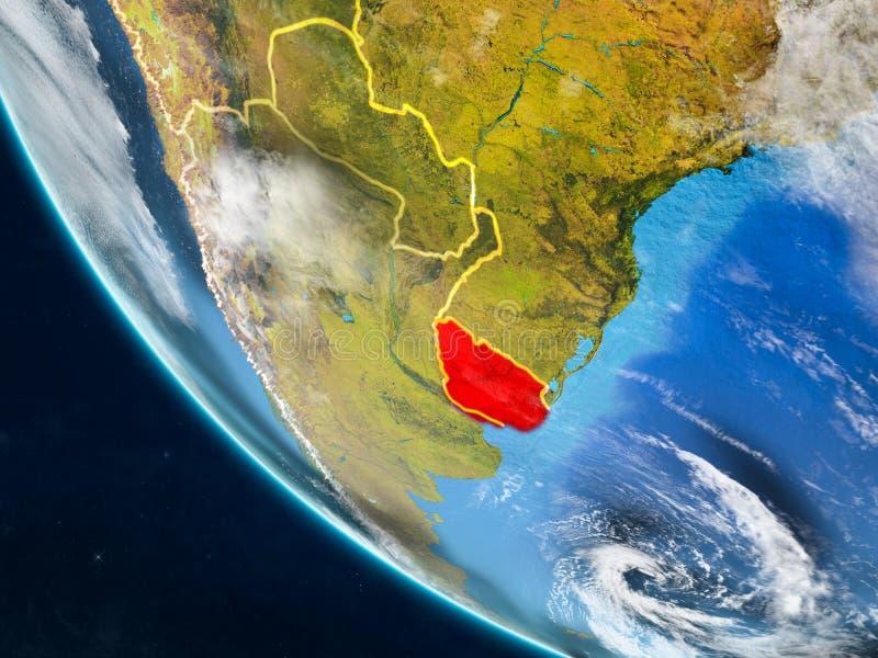 Uruguay van ruimte ter wereld vector illustratie