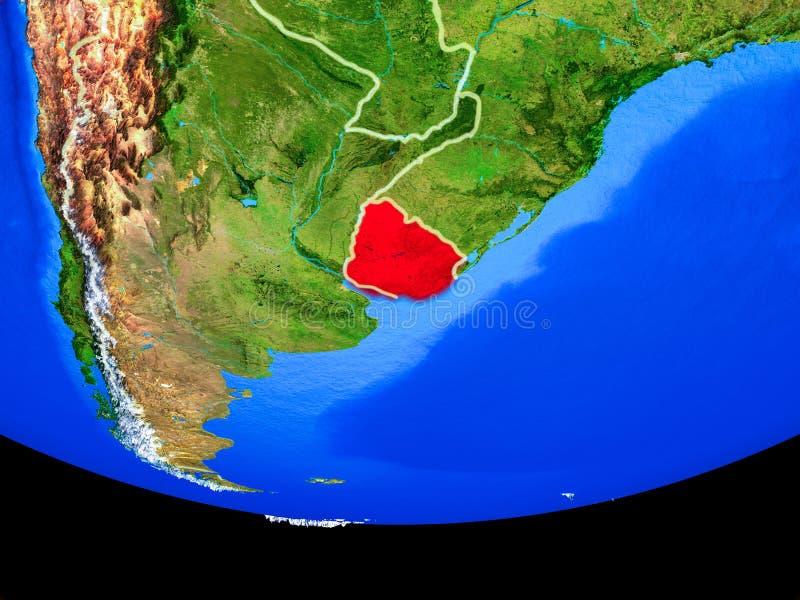 Uruguay van ruimte ter wereld stock illustratie