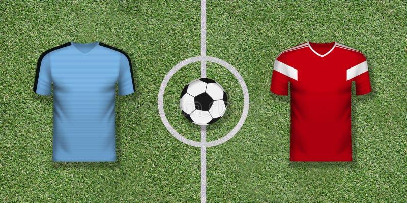 Uruguay vs Ryssland den internationella fotbollleken som parar på fotboll vektor illustrationer