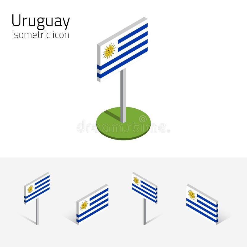 Uruguayansk flagga, vektoruppsättning av isometriska plana symboler 3D vektor illustrationer